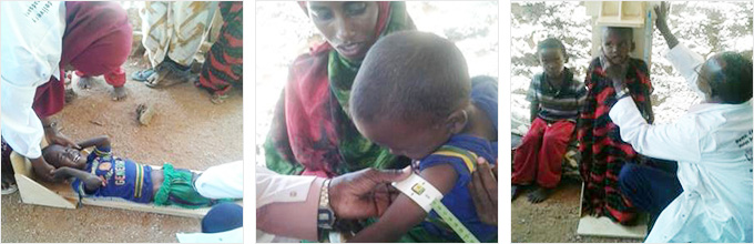 아동 영양상태 검진을 위해 몸무게, 팔 둘레, 키 측정