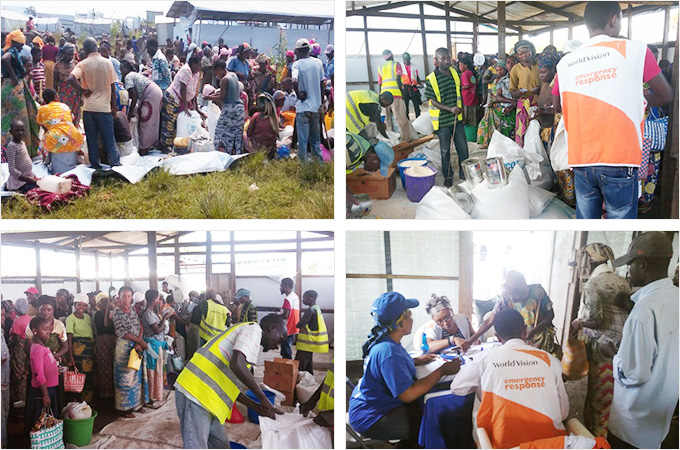 식량 배분 중인 국내실향민캠프