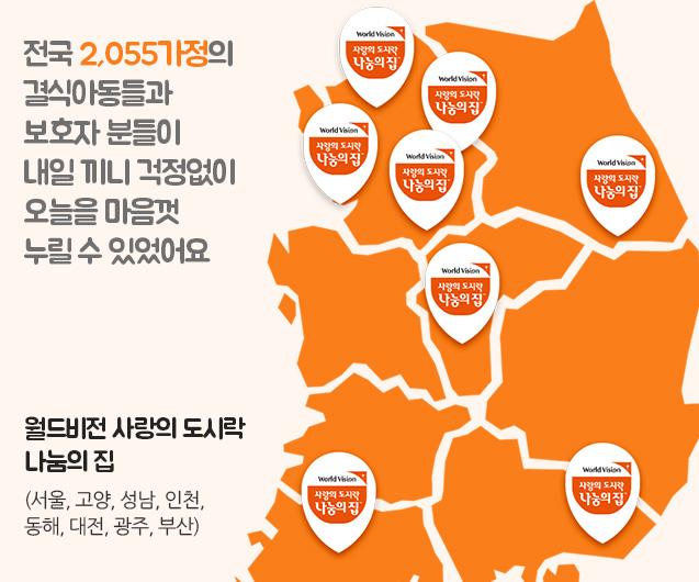 전국 2,055 가정의 결식 아동들과 보호자 분들이 내일 끼니 걱정 없이 오늘을 마음껏 누릴 수 있었어요. 월드비전 사랑의 도시락 나눔의 집은 서울, 고양, 성남, 인천, 동해, 대전, 광주, 부산에 있습니다.