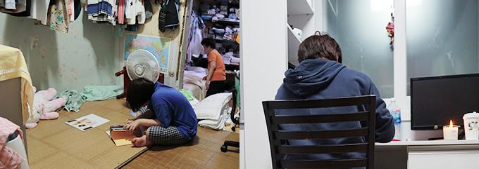 허리를 굽힌채 방 바닥에서 불편하게 공부하는 경아, 깨끗한 새 책상에서 공부할 수 있게 된 경아