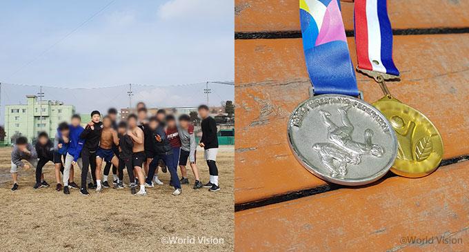 친구들과 훈련하는 동호, 은메달, 금메달