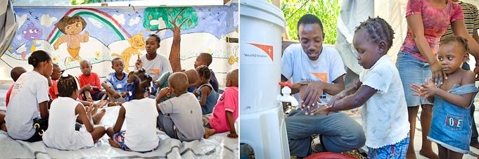아이티의 파크아크라 지역 임시 거주촌에 마련된 아동쉼터에서 월드비전 직원이 아이들에게 올바른 손 씻기 방법을 가르치고 있다.