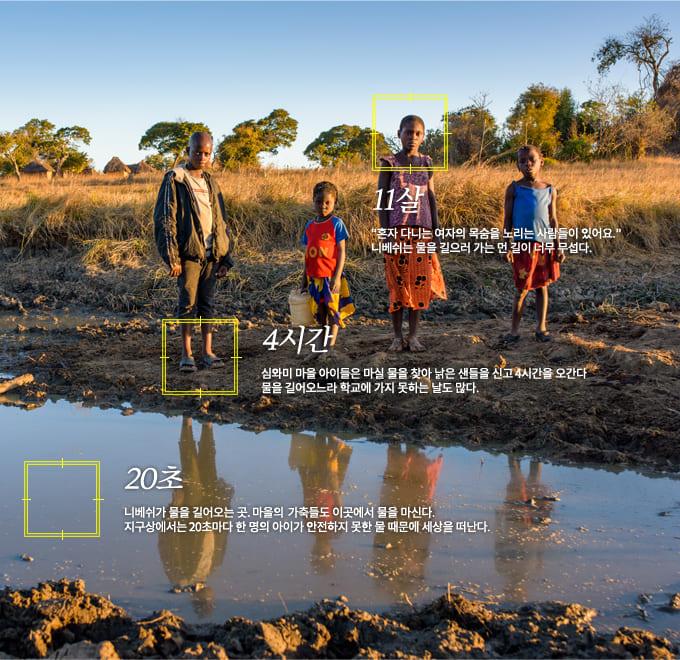 11살: 혼자 다니는 여자의 목숨을 노리는 사람들이 있어서 니베쉬는 물을 길으러 가는 먼 길이 너무 무섭다. 4시간: 심와미 마을 아이들은 마실 물을 찾아 낡은 샌들을 신고 4시간을 오간다. 물을 길어오느라 학교에 가지 못하는 날도 많다. 20초: 니베쉬가 물을 길어오는 곳. 마을의  가축들도 이곳에서 물을 마신다. 지구상에서는 20초마다 한 명의 아이가 안전하지 못한 물 때문에 세상을 떠난다.