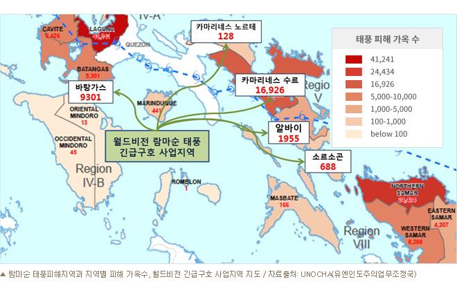 람마순 태풍피해지역과 지역별 피해 가옥수, 월드비전 긴급구호 사업지역 지도 / 자료출처: UNOCHA(유엔인도주의업무조정국)