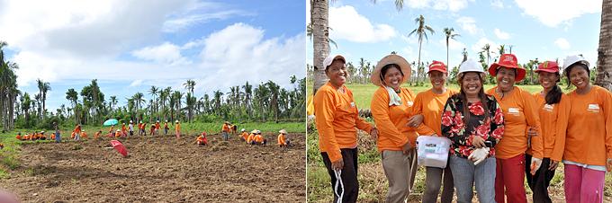 레이테 주의 생계지원 프로그램에 참여한 태풍 피해 여성들.