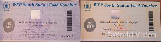 WFP에서 발급한 식량교환권 ( 남수단화폐 10파운드, 20파운드로  만료기간과 바코드가 있음