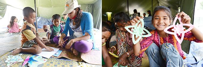 월드비전은  아동쉼터(CFS)에서 교육, 미술, 심리치료, 놀이 등을 통해 아이들이 지진의 충격을 이겨낼 수 있도록 돕고 있다.