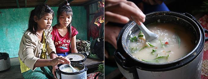 흰쌀에 야생초, 인스턴트 라면을 섞은 죽을 쑤어먹는 아이들.