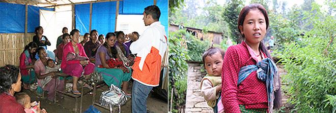 여성 의료진 교육현장 / 유아용 키트를 수령한 여성