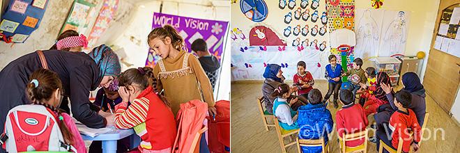 레바논 난민캠프 임시교육센터 교육지원 모습