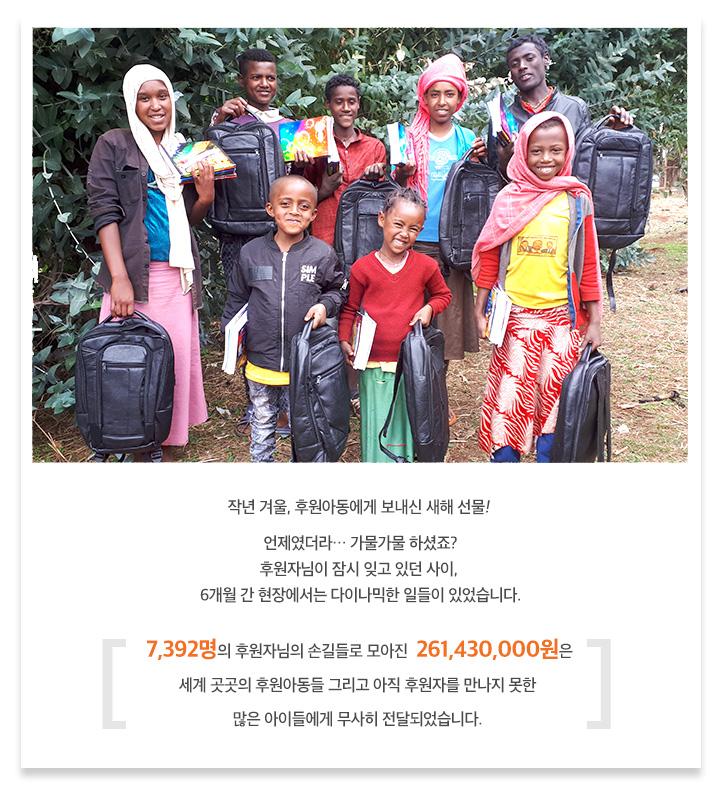 작년 겨울, 후원아동에게 보내신 새해 선물, 언제였더라… 가물가물 하셨죠? 후원자님이 잠시 잊고 있던 사이, 6개월 간 현장에서는 다이나믹한 일들이 있었습니다. 7,392명의 후원자님의 손길들로 모아진 261,430,000원은 세계 곳곳의 후원아동들 그리고 아직 후원자를 만나지 못한 많은 아이들에게 무사히 전달되었습니다.
