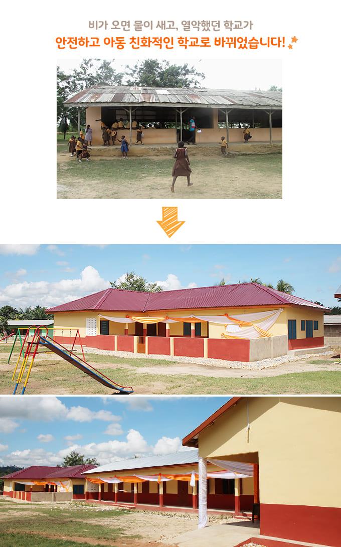 비가 오면 물이 새고, 열악했던 학교가 안전하고 아동 친화적인 학교로 바뀌었습니다!