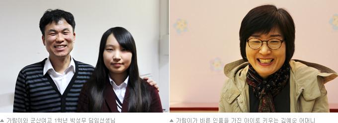 가람이와 군산여고 1학년 박성무 담임선생님, 가람이가 바른 인품을 가진 아이로 키우는 김예순 어머니