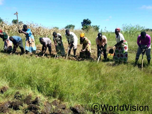 농부들이 농사가 풍년이 되어 가족의 식량사정이 안정되기를 염원하며 땅을 갈고 있습니다.년 사진