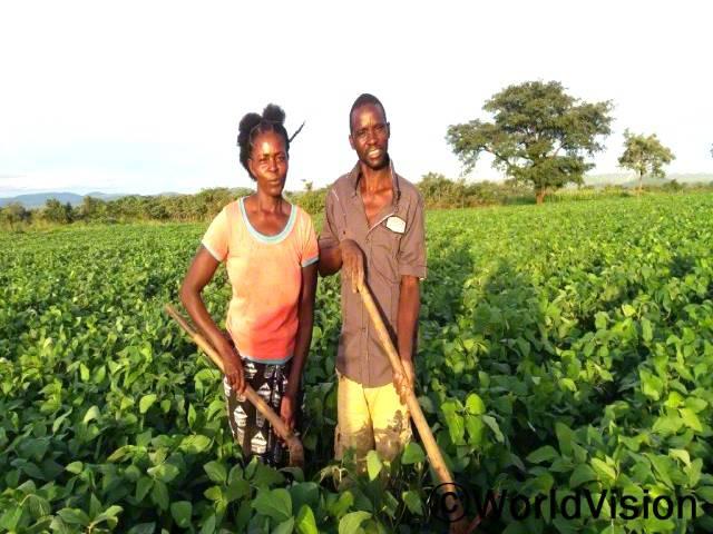 치파수(오른쪽)와 그의 아내 에스터(왼쪽)는 지역 농부로 농업훈련을 받은 이후 다양한 작물을 생산할 수 있어서 행복해요.년 사진