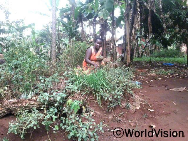"""마을 주민들은 월드비전의 텃밭 가꾸기 훈련을 받았습니다. """"월드비전의 도움으로 텃밭 가꾸기 훈련을 받아 이제는 가족에게 영양이 풍부한 음식을 해줄 수 있게 되었습니다."""" –모니카(25세)년 사진"""