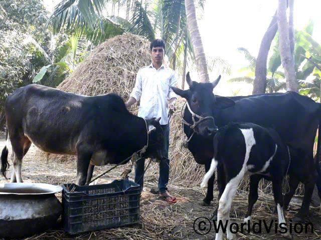 가정형편이 어려웠던 조쉼(후원아동)은 월드비전에서 소를 지원 받았습니다. 소는 송아지 두 마리를 낳았고, 그 덕에 조쉼의 가족은 우유로 영양 섭취도 하고 남은 건 시장에 팔아 수익을 얻습니다.년 사진