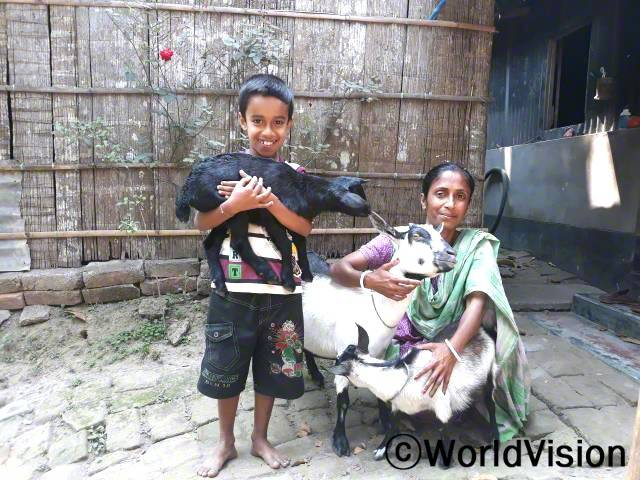 월드비전에서 지원받은 염소가 새끼 7마리를 낳았습니다. 수마트라(모)는 그 중 4마리를 팔아 아이들 학비를 지원했습니다.년 사진