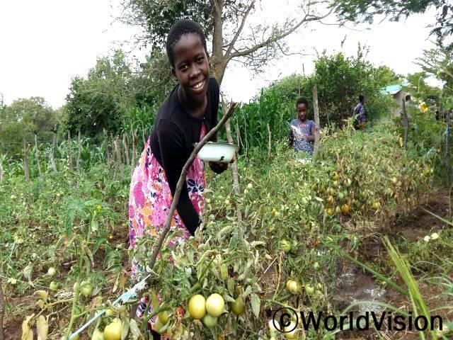 저희 엄마께서 밭을 가꾸는 법을 배우신 후로는 많은 양의 토마토와 당근 그리고 다양한 채소들을 키우게 되었어요. 이제는 더 좋은 음식을 먹고, 채소들을 팔아서 책이나 옷, 음식을 살 수 있어요. -요트리시아(13세)년 사진