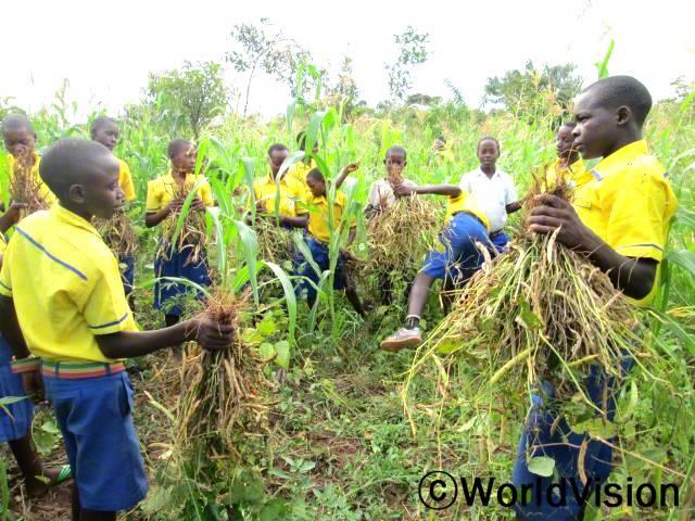 학교에서 하는 환경모임을 통해 농작물을 심고 가꾸고 추수하는 방법을 알게 되었어요. 팀으로 함께 일해서 재밌었어요. 이제 저는 부모님의 밭일을 도와드릴 수 있게 됐어요. -조셉(11세, 하늘색 셔츠를 입은 아동)년 사진