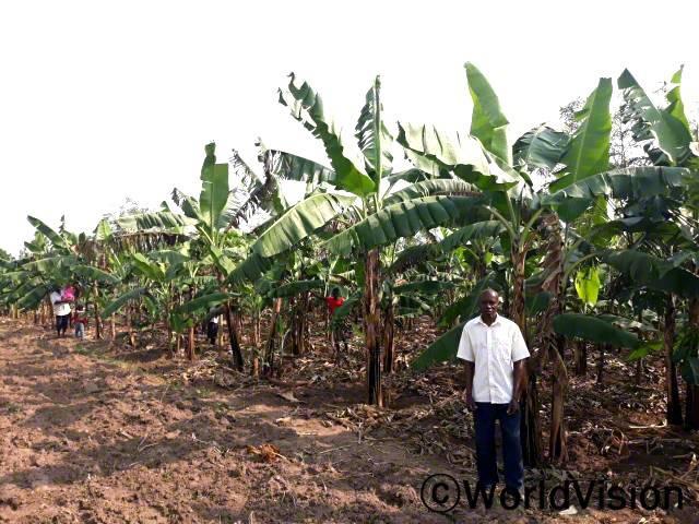 마을 주민인 사무엘은 월드비전의 농업 교육을 받아 이제 2 에이커의 바나나 농장을 운영하고있습니다. 덕분에 소득이 점차 안정되어 가족의 끼니를 잘 챙길 수 있게 되었습니다.년 사진
