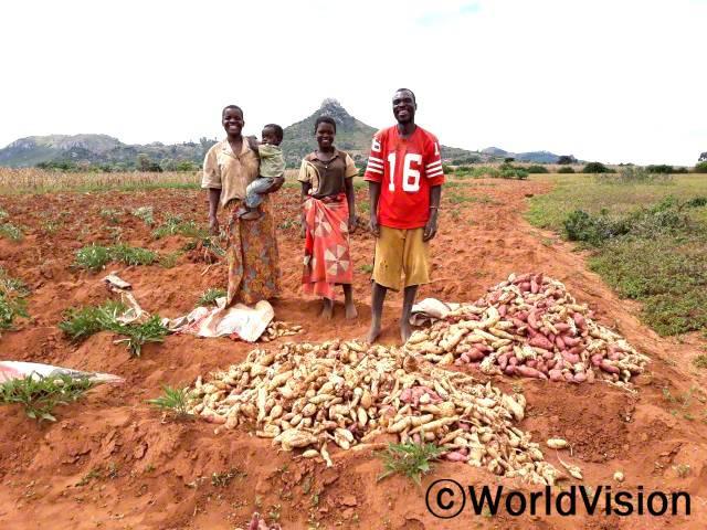 월드비전에서 전문농업기술 교육을 해준 덕분에 마을의 90가정 이상이 도움을 받고, 그 결과 많은 양의 고구마를 수확했어요.몸에 좋아 가족들이 다같이 먹기도 하고, 또 남은 건 팔아서 가정 생계에도 큰 보탬이 되고 있어요.