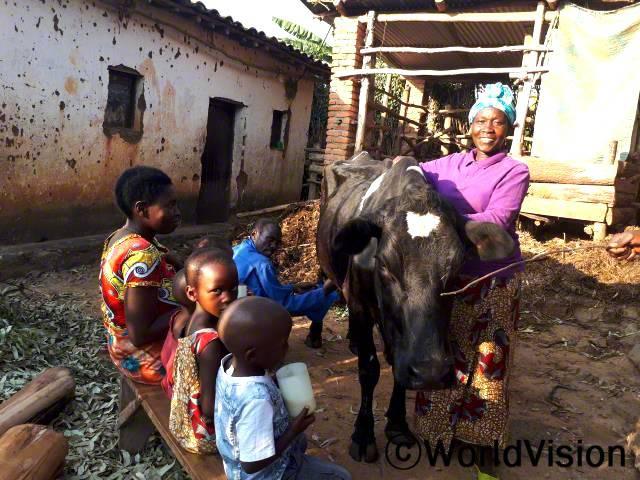 아이들을 먹이고 학교에 보낼 별다른 방도가 없었어요. 가난한 가정에 소를 한 마리씩 지원해 주는 월드비전의 사업에 참여하여 저희 가족도 소를 한 마리 지원받았어요. 이제 저는 하루에 13리터의 우유를 얻어 아이들을 먹이고 우유를 팔아 돈을 벌 수 있게 됐어요. 그 돈으로 아이들의 교육비도 충당하고 이웃 아이들도 도울 수 있어요. -베티(45세)년 사진
