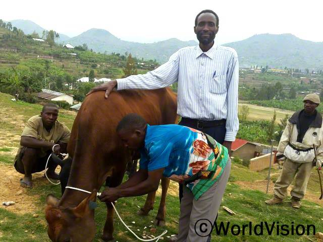 가난한 가정에 소를 지원해 주는 월드비전의 사업 덕에, 소를 한 마리 지원받았어요. 매일 15리터의 우유를 생산해서 아이들을 먹이고,또 팔아서 수입을 벌어요. 아이들 교육비도 충당하고, 퇴비도 만들 수 있어요. - 데오(55세)년 사진