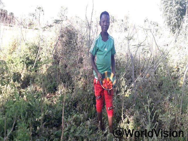 학교밖청소년인 야예는 후원자님 덕분에 채소 종자와 농업 교육을 받아 올해 토마토 재배에 성공했습니다.년 사진