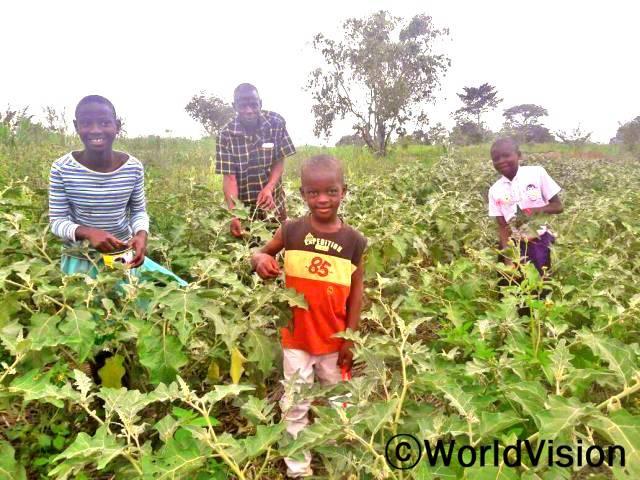 월드비전이 우리가족에게 농사에 필요한 물을 공급해주었어요. 가뭄에도 우리는 농작물에 줄 물이 충분히 있어서 먹고 판매도 할 수 있어요. -폴(8세, 빨간 티셔츠를 입은 아동)년 사진