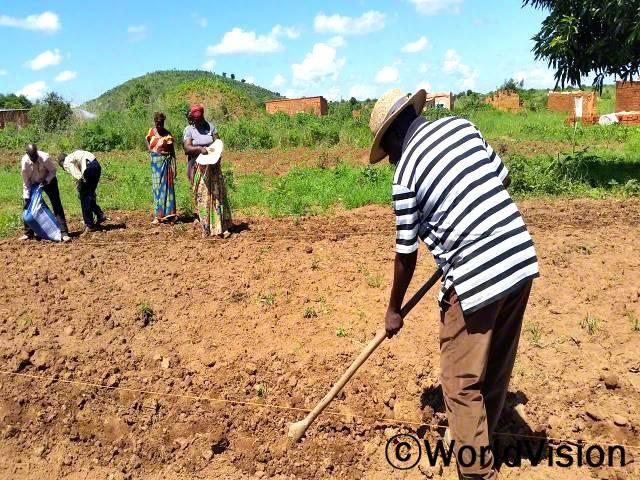 학교 부지를 만들기 위해 땅을 고르고 있습니다.년 사진