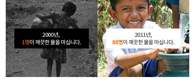 2000년, 1명이 깨끗한 물을 마십니다. 2011년, 88명이 깨끗한 물을 마십니다.